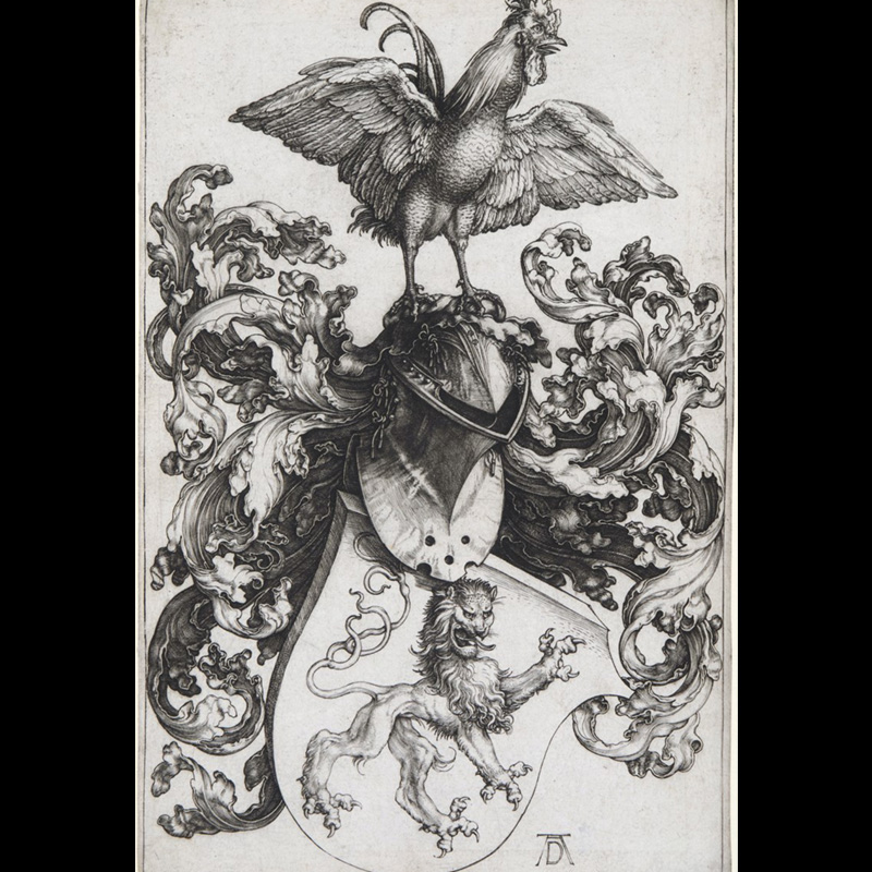 Albrecht Dürer, Coat of Arms with a Lion and a Cock